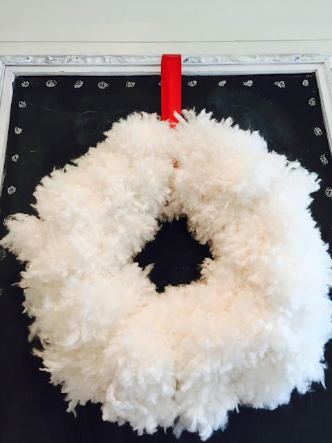 Anthropology knock off wreath, White fluffy wreath for Christmas