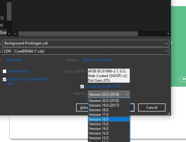 Cara Menyimpan File CorelDRAW Dapat di Buka Semua Versi