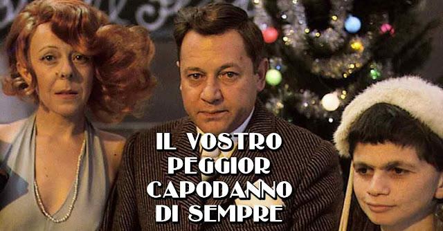 Liù Bosisio, Paolo Villaggio e Plinio Fernando in ''Fantozzi'', scena del capodanno