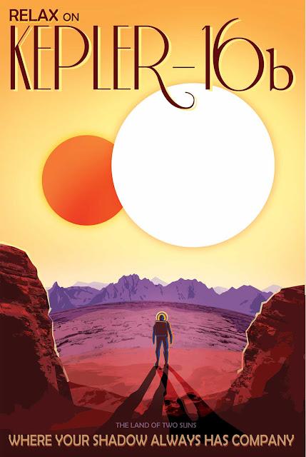 Poster retro de viagem espacial - NASA - Kepler 16b