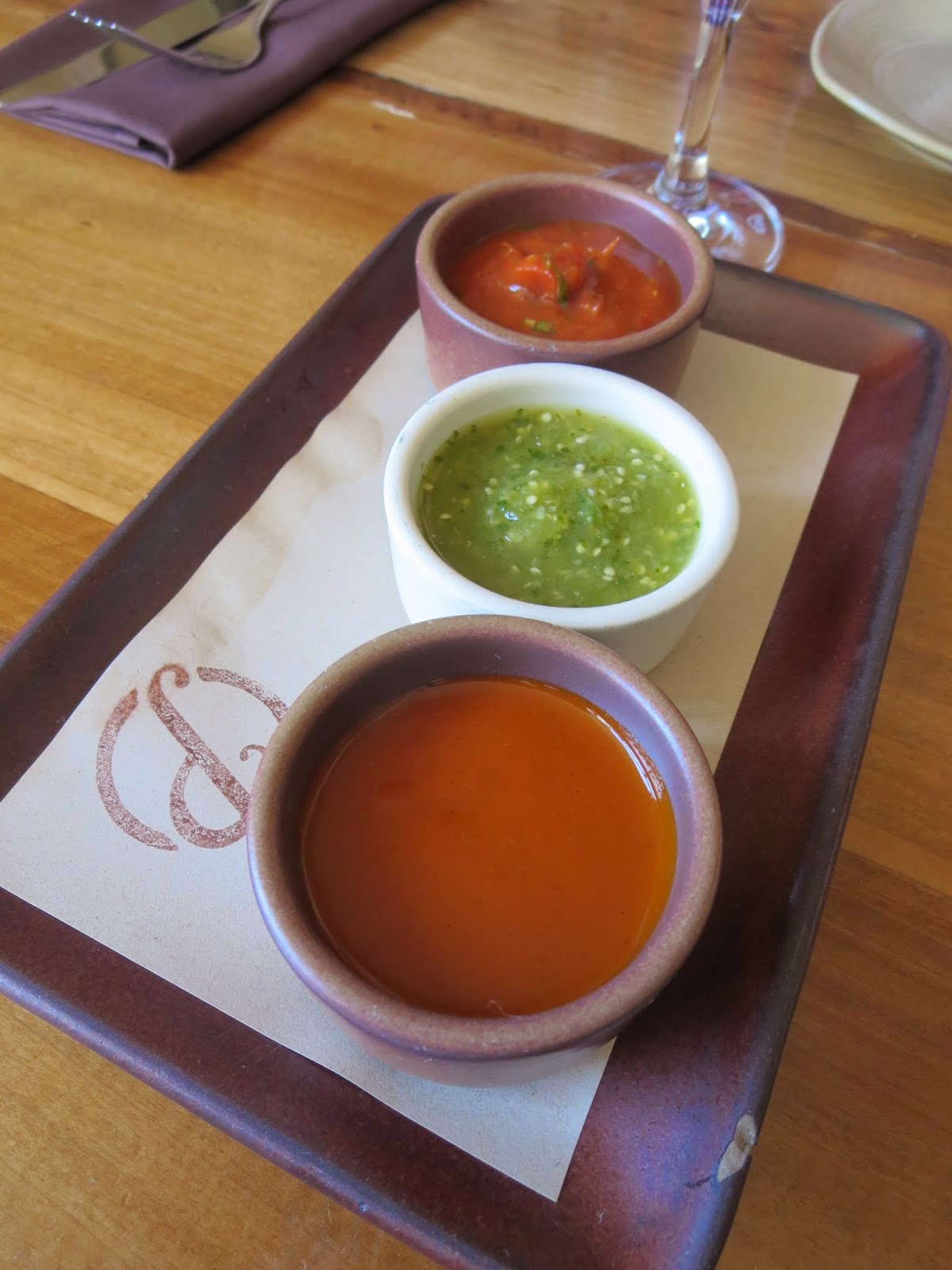 Three kinds of salsa at Padrecito in San Francisco