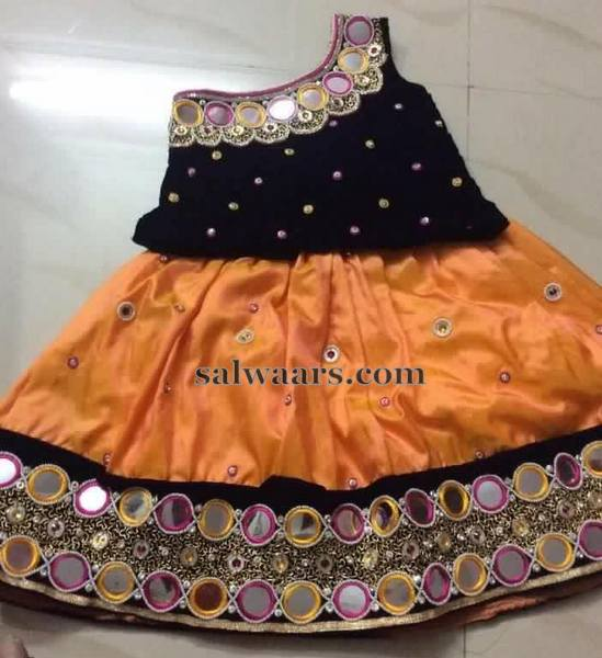 Light Orange Mirror Work Lehenga