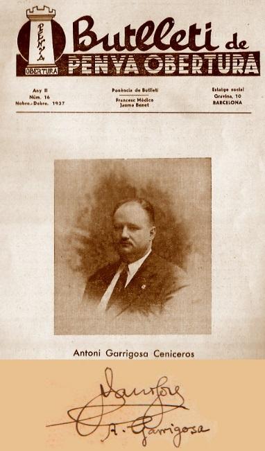 Bulleti de Penya Obertura, noviembre-diciembre 1937