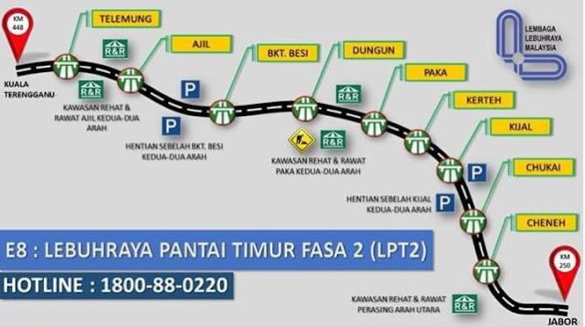 Senarai Kadar Bayaran Tol LPT2 Lebuhraya Pantai Timur 2