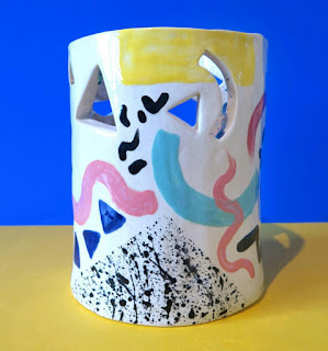 Baked By Lou Ceramic Painted Vase Pot
