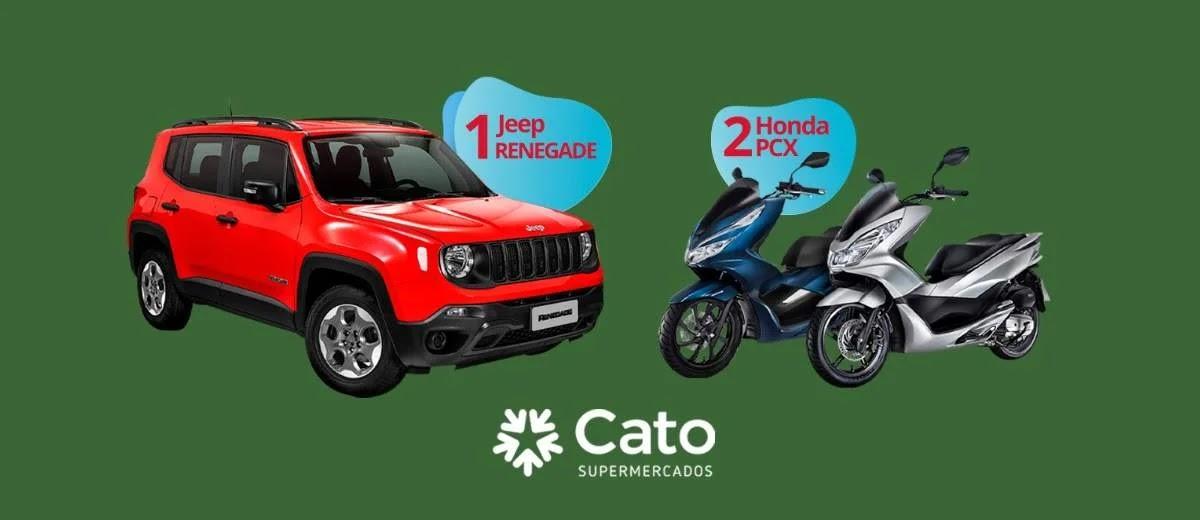 Promoção Cato Supermercados 2020 Aniversário 46 Anos - Jeep Renegade e Duas Motos Honda