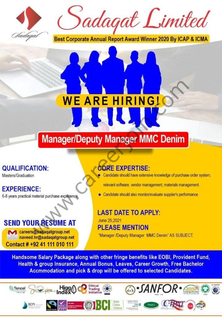 careers@sadaqatgroup.net - Sadaqat Ltd Jobs 2021 in Pakistan