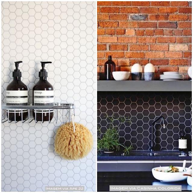 revestimento hexagonal de parede