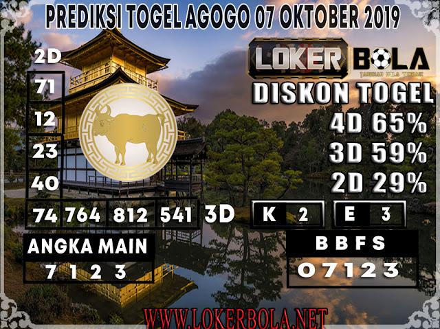 PREDIKSI TOGEL AGOGO LOKERBOLA 07 OKTOBER 2019