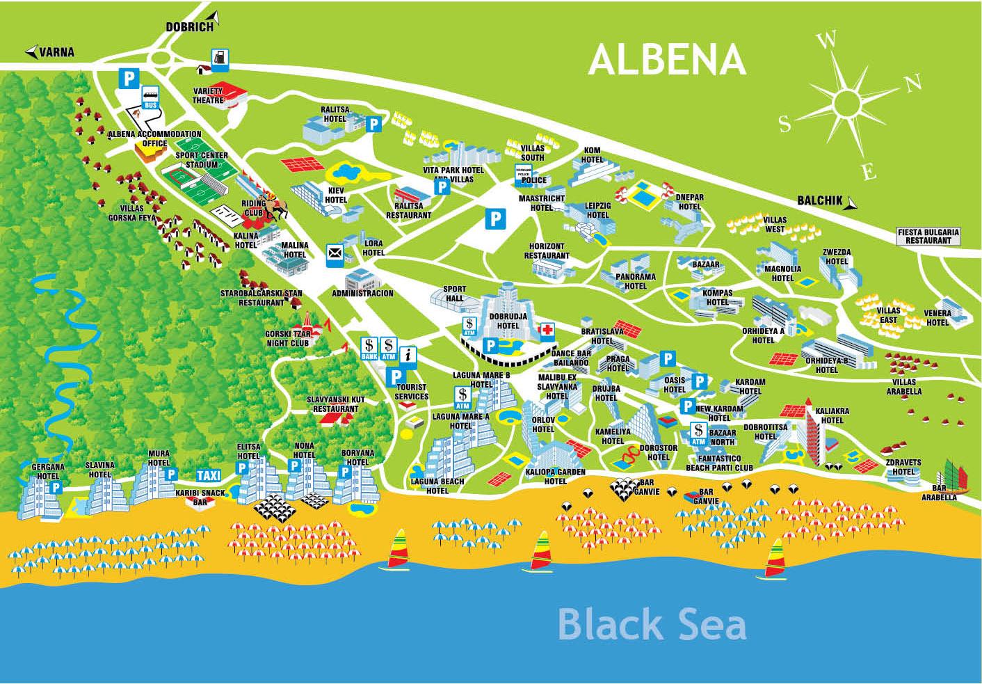 Harta Hoteluri Albena Harta