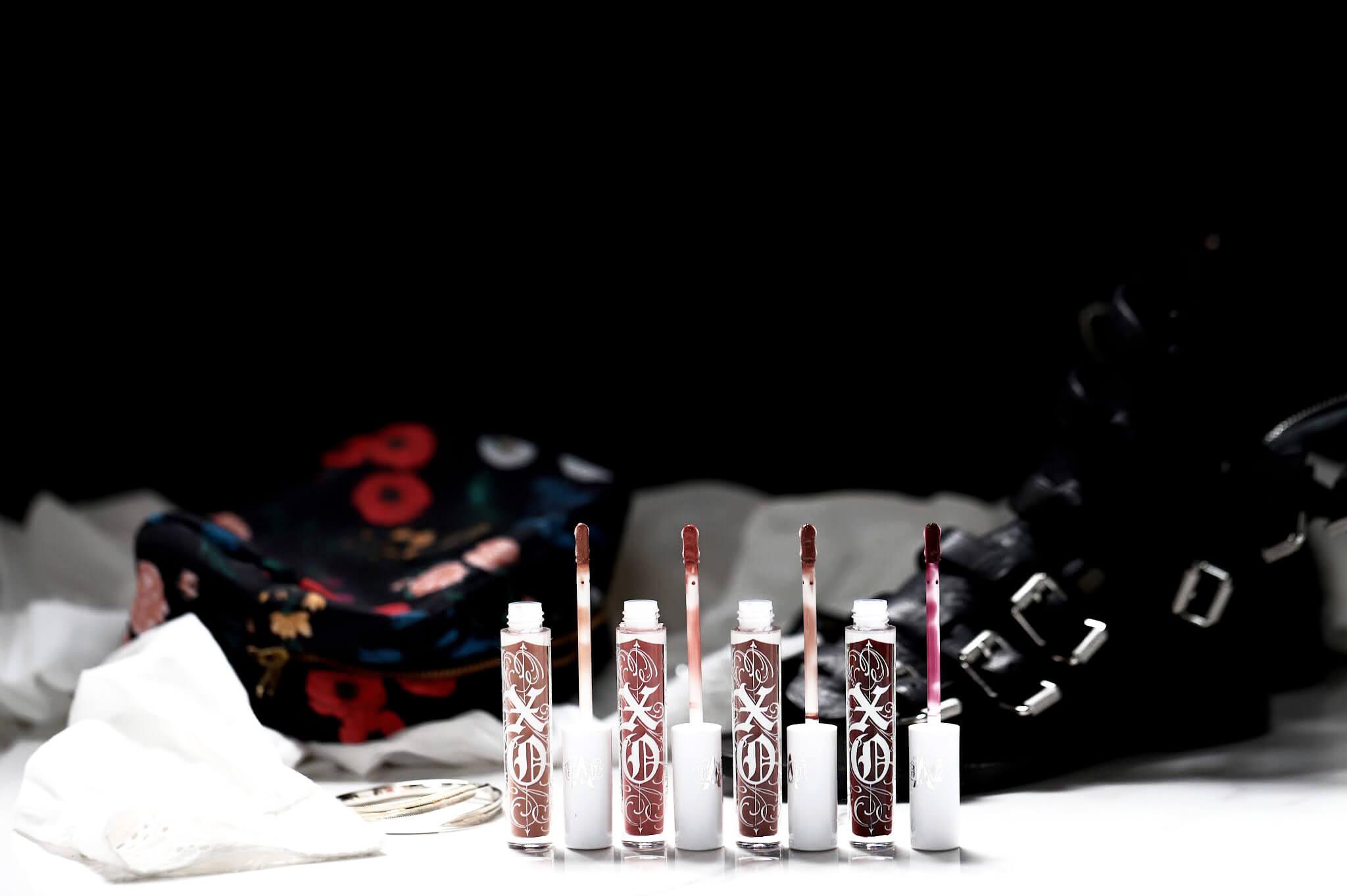 KVD XO Lip Gloss Petunia Lolita Flora Camellia Azalea swatch