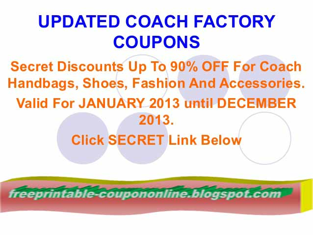 Today's top Coach discount: Holiday Sale! Up to 50% Off Select Styles + Free Shipping With Code. Save with Coach coupons, sales and promo code discounts for December on RetailMeNot.