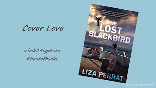 Cover of The Lost Blackbird by Liza Perrat on light blue background showing a girl on a ship facing stormy sky and a bird flying up