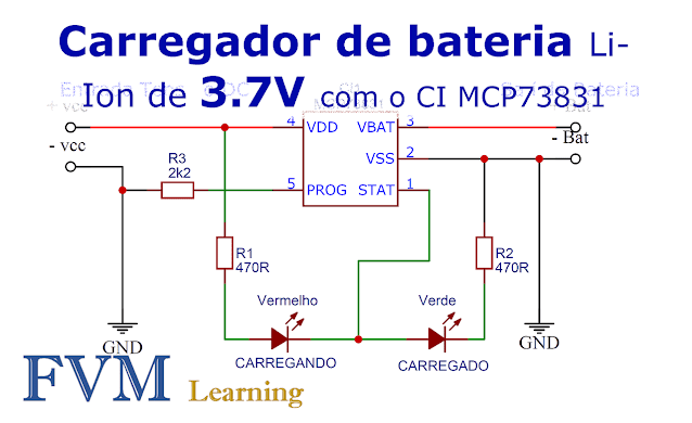 Circuito Carregador de bateria Li-Ion de 3.7V com o CI MCP73831