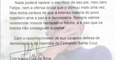 Lula com trecho da carta ao presidente da OAB