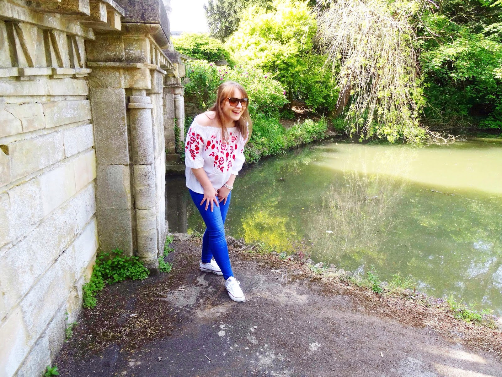 Floral Bardot Top and Bright Blue Jeans