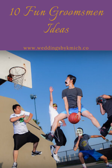 wedding ideas - wedding coordination ideas- groomsmen posing playing basket ball - wedding ideas blog by K'Mich - wedding planners in Philadelphia PA