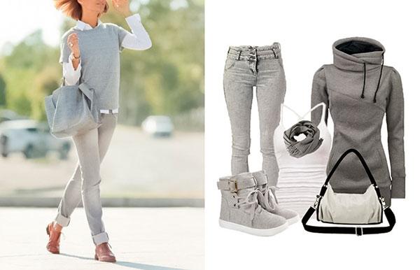 джинсы, мода, осень, серый