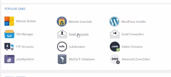 click on email account from cpanel