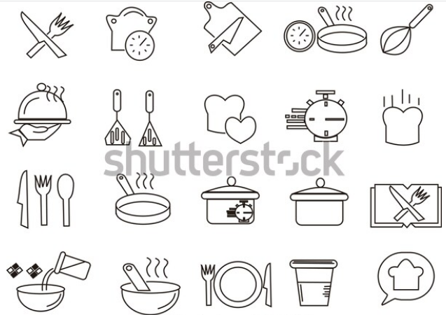 illustration stock cooking line icon