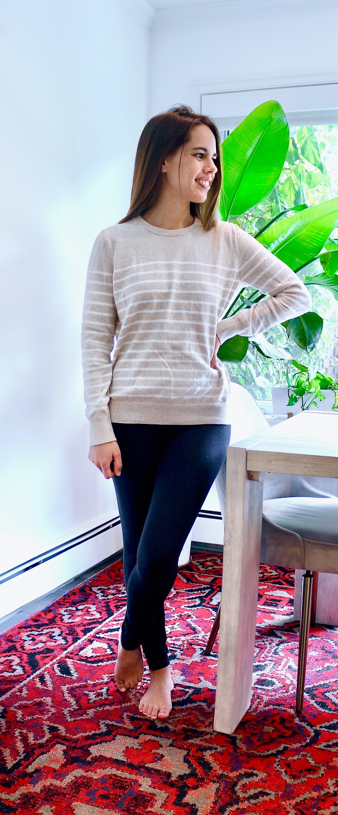 Jules in Flats - Beige + White Striped Sweater with Leggings (Easy Work from Home Outfit).jpeg
