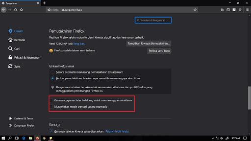 Mematikan pembaruan otomatis Mozilla Firefox