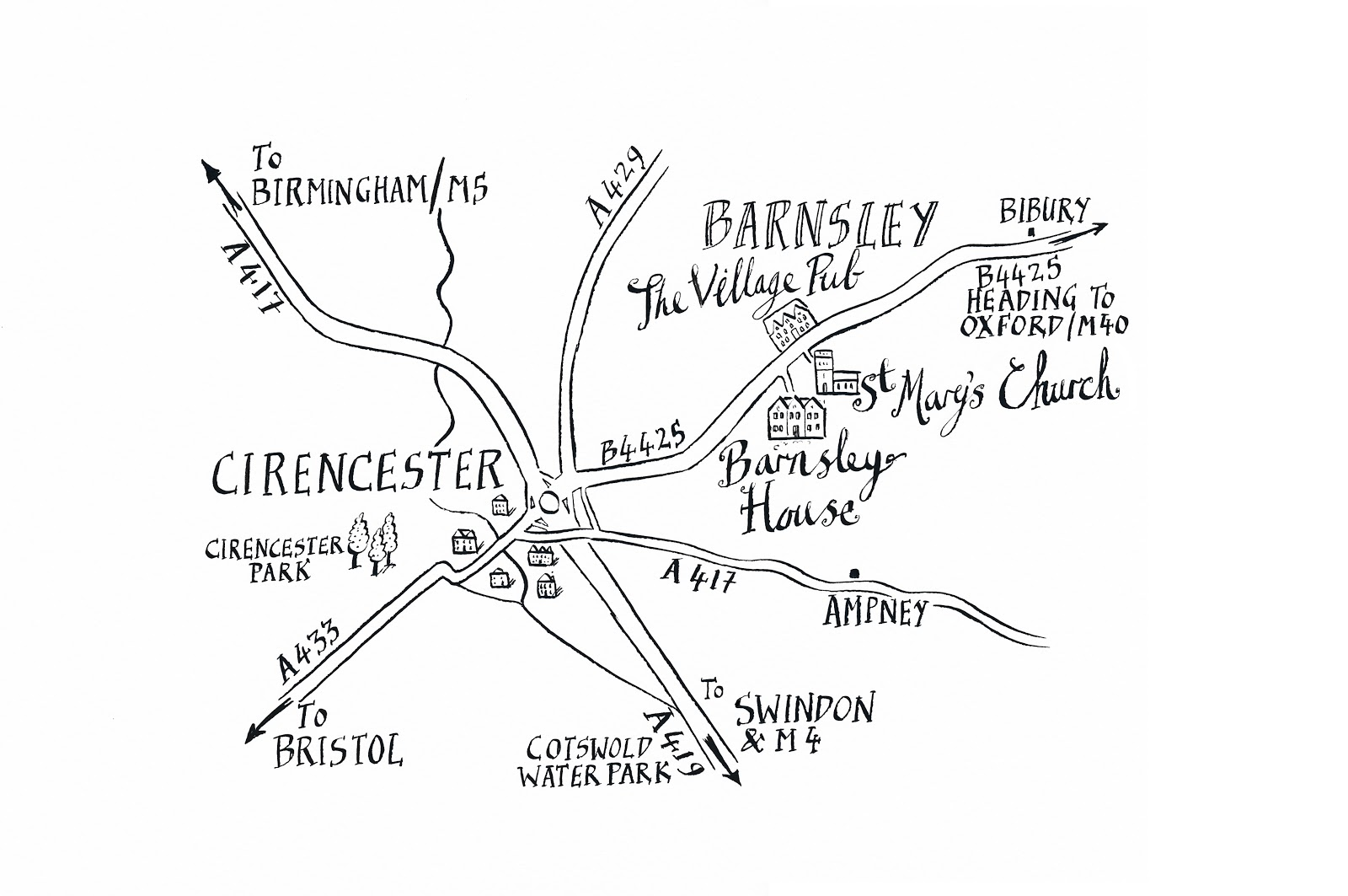 Barnsley House Wedding Venue Map