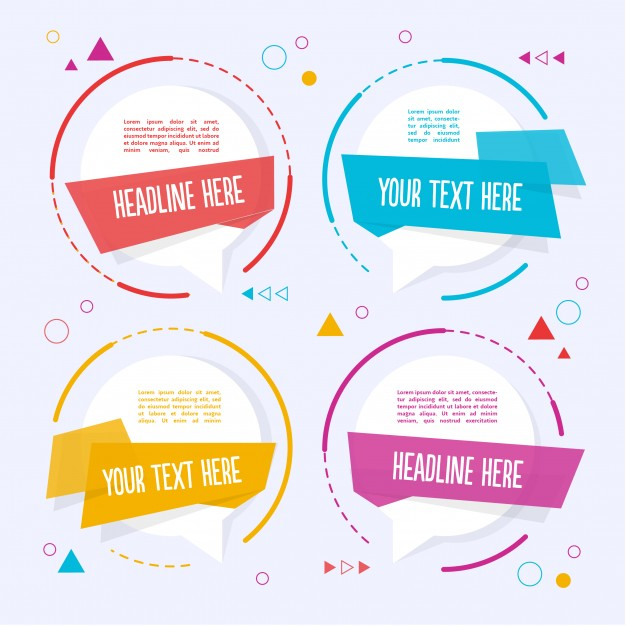 Four colorful text template Free Vector
