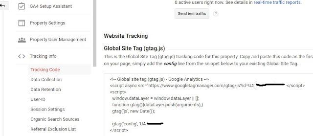 Google Analytics Tracking Information