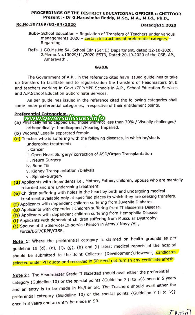 SE-Regulation of Transfers of Teachers under various managements 2020-certain instructions of preferential category regarding.