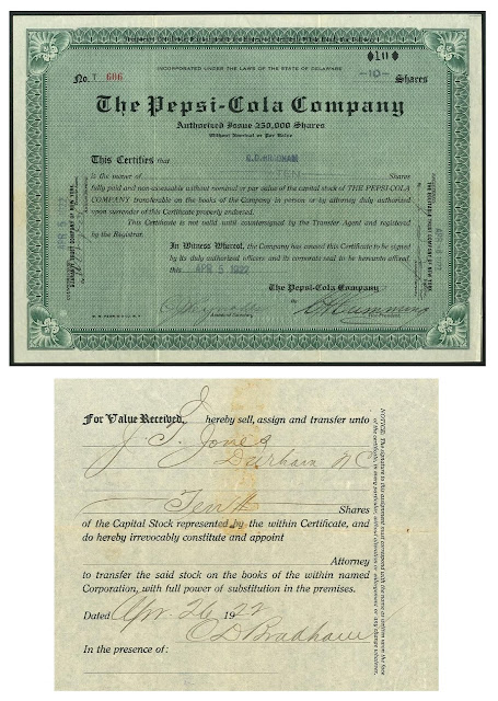 A Pepsi-Cola share signed on reverse by its founder Caleb D Bradham