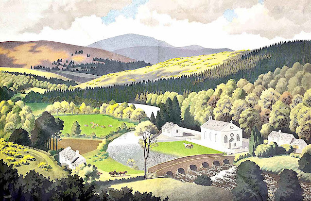 a Ronald Lampitt illustration of an English countryside with a river