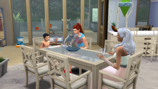 Screen grab of three sims sitting at a kitchen table in sims 4