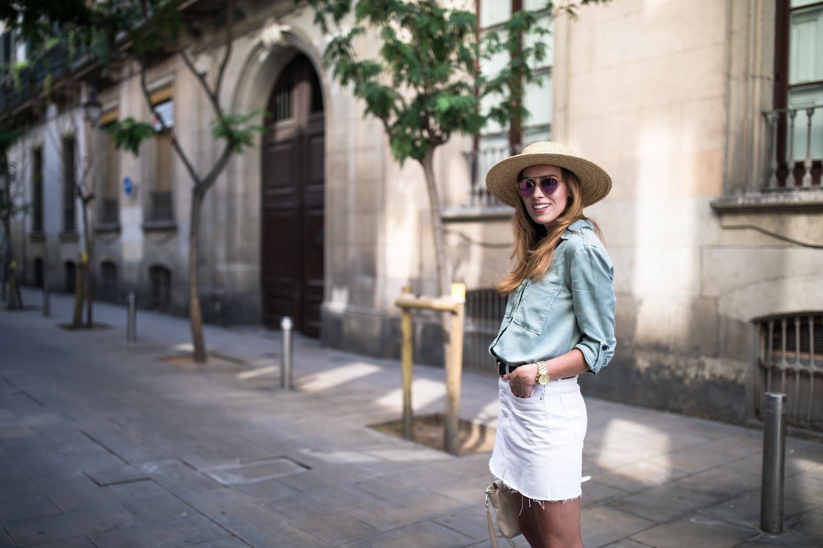 olive green button down shirt outfit