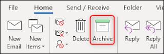 زر الأرشيف في شريط Outlook زر الأرشيف في Apple Mail