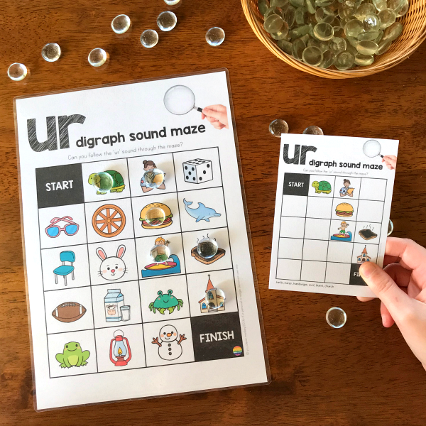 Printable Digraph Activities for /ir/ sound - sound mazes in colour and black and white plus I Spy game | you clever monkey