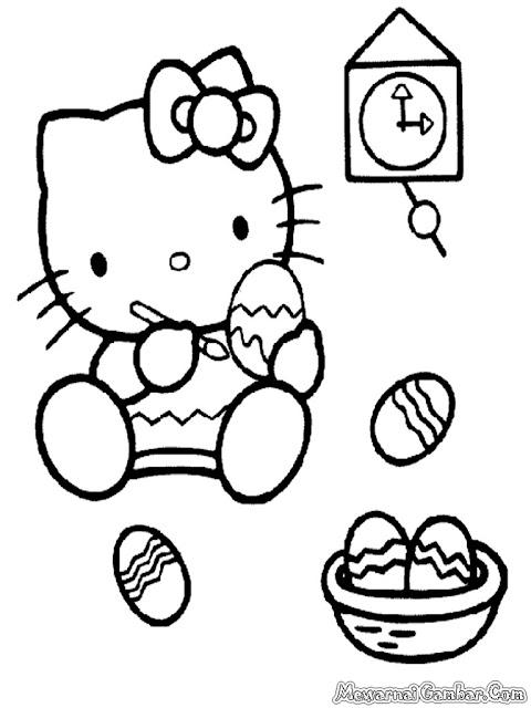 Hello Kitty Mewarnai Telur Paskah
