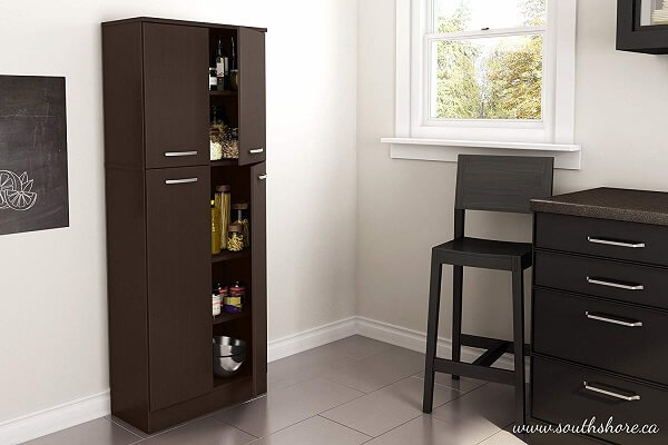 South Shore 4-Door Storage Pantry with Adjustable Shelves, Chocolate