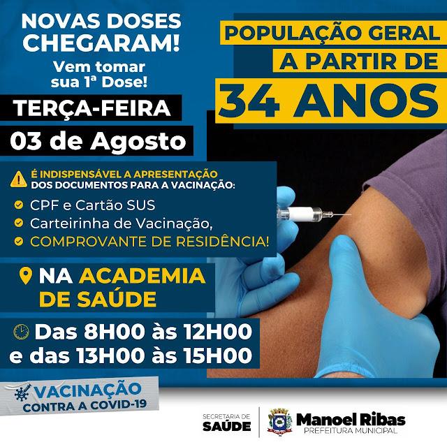 Manoel Ribas vacina pessoas com 34 anos