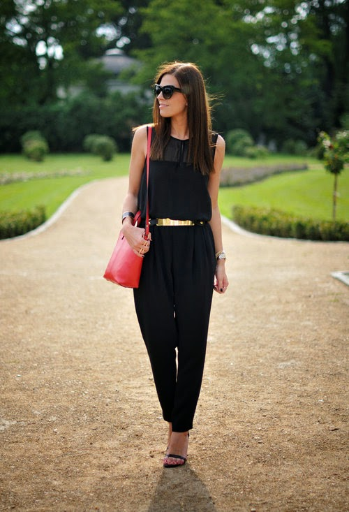 Wearing a Zara Black Jumpsuit with Gold Belt