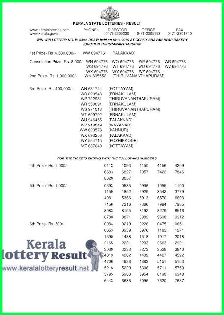 Kerala Lottery Result 18-11-2019 Win Win W-539 (keralalotteryresult.net )