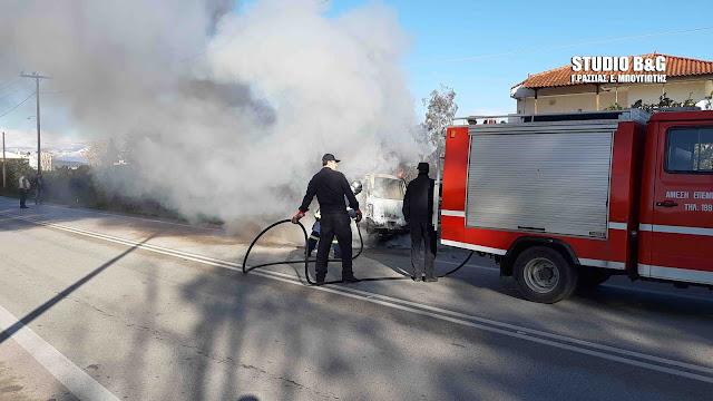 Αργολίδα: Πυρκαγιά σε αυτοκίνητο στη Δαλαμανάρα