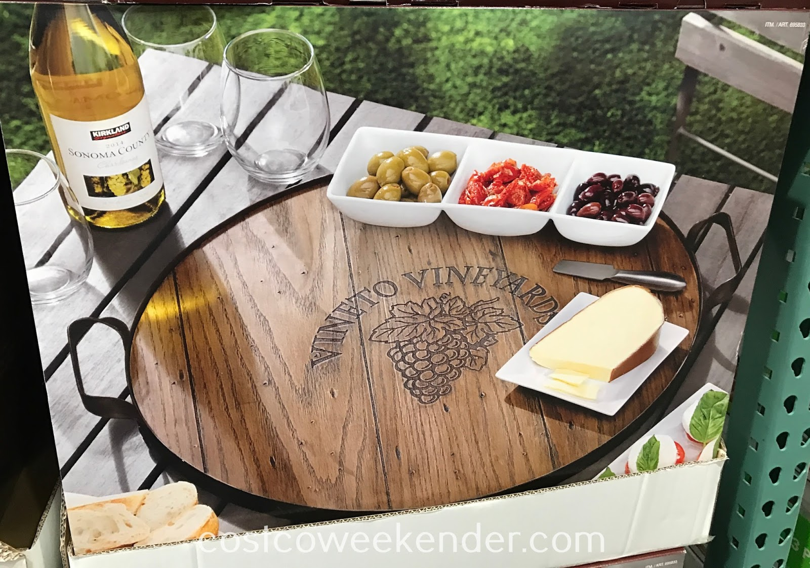Serve delicious hors d'oeuvres to guests with the Mercuries Wine Barrel Tray