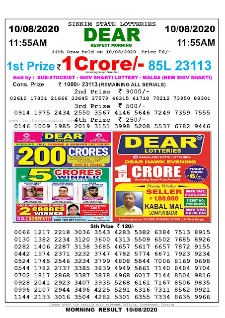 Lottery Sambad 10-08-2020 Sikkim State Lottery Result 11.55 AM