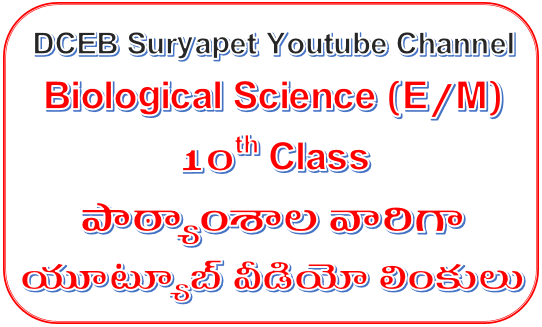 SSC(10th Class) Biological Science Subject English Medium Lesson wise and Topic wise Youtube video Links at one Page - DCEB Suryapet Youtube Channel