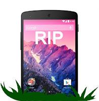 """Nexus 5, dargestellt als Grabstein mit """"RIP"""" am Display"""
