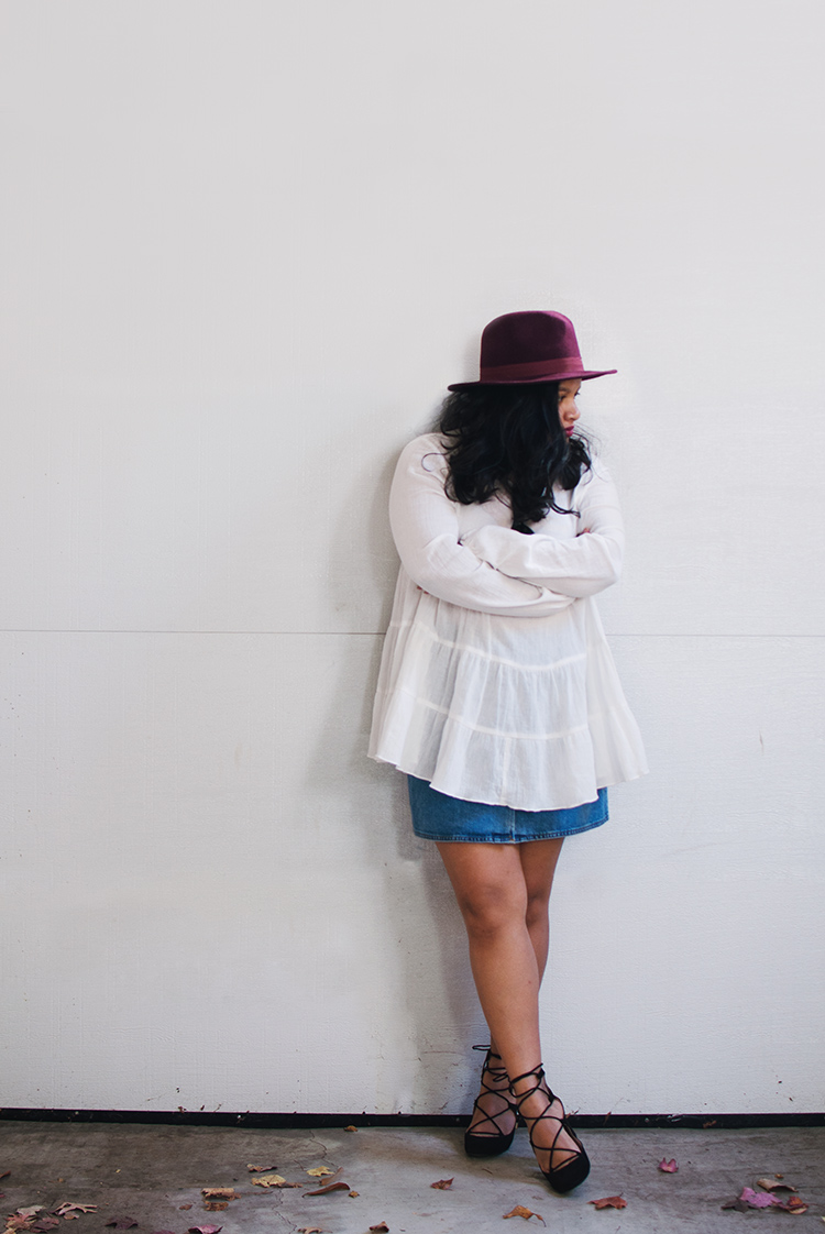 asos denim button through skirt, zara lace up heels, forever 21 wool fedora