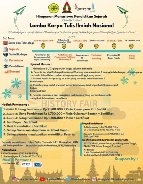 Lomba Karya Tulis Ilmiah Nasional Tahun 2019 History Fair UNTIRTA