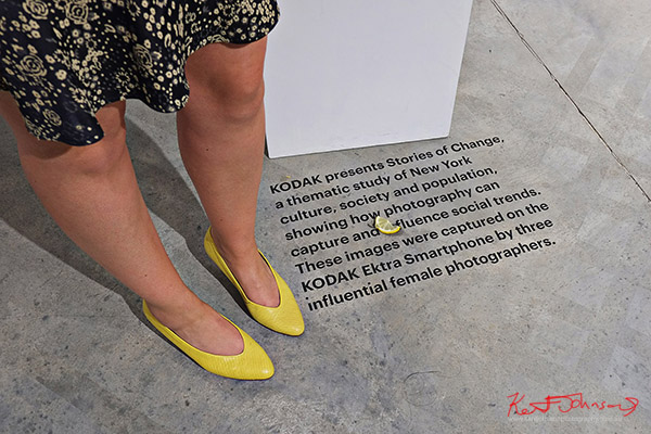 Floor text, yellow shoes and lemon, Kodak Ektra will present Stories of Change art opening. Street Fashion Sydney, New York Edition photographed by Kent Johnson.