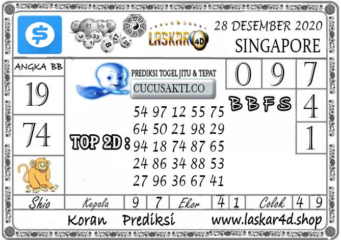 Prediksi Togel SINGAPORE LASKAR4D 28 DESEMBER 2020